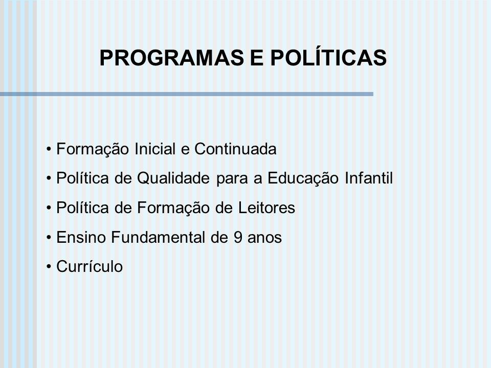 PROGRAMAS E POLÍTICAS Formação Inicial e Continuada