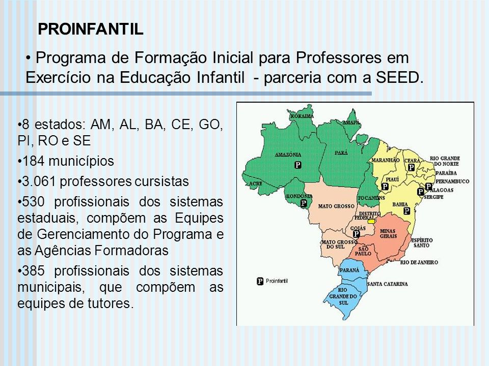 PROINFANTIL Programa de Formação Inicial para Professores em Exercício na Educação Infantil - parceria com a SEED.