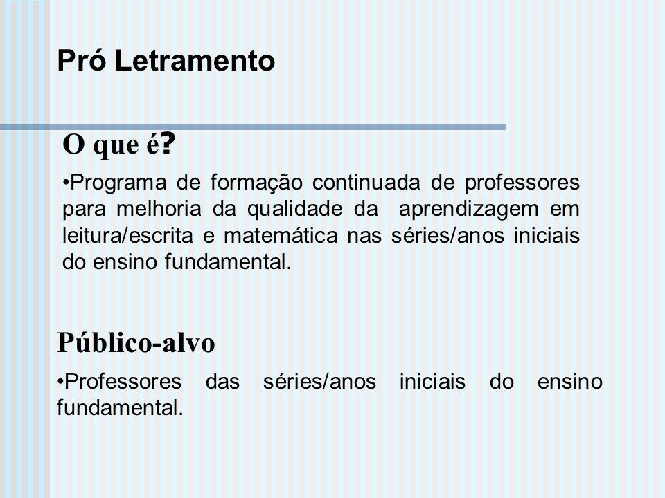 Pró Letramento O que é Público-alvo