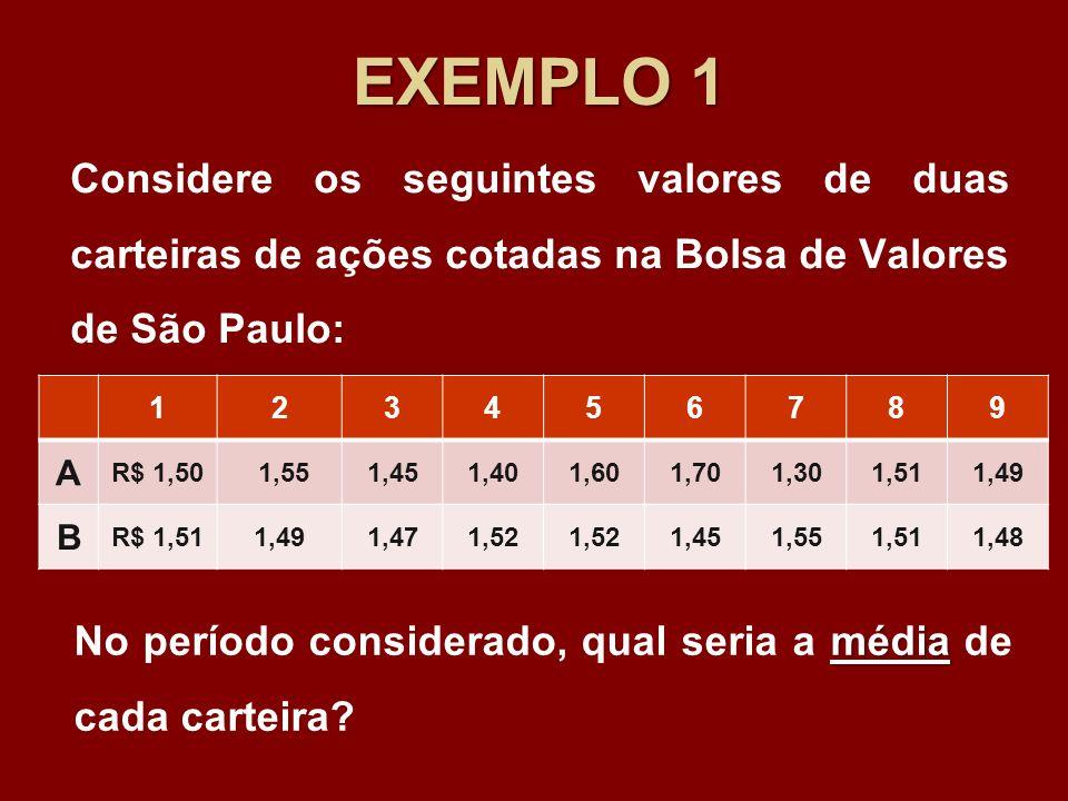 EXEMPLO 1Considere os seguintes valores de duas carteiras de ações cotadas na Bolsa de Valores de São Paulo: