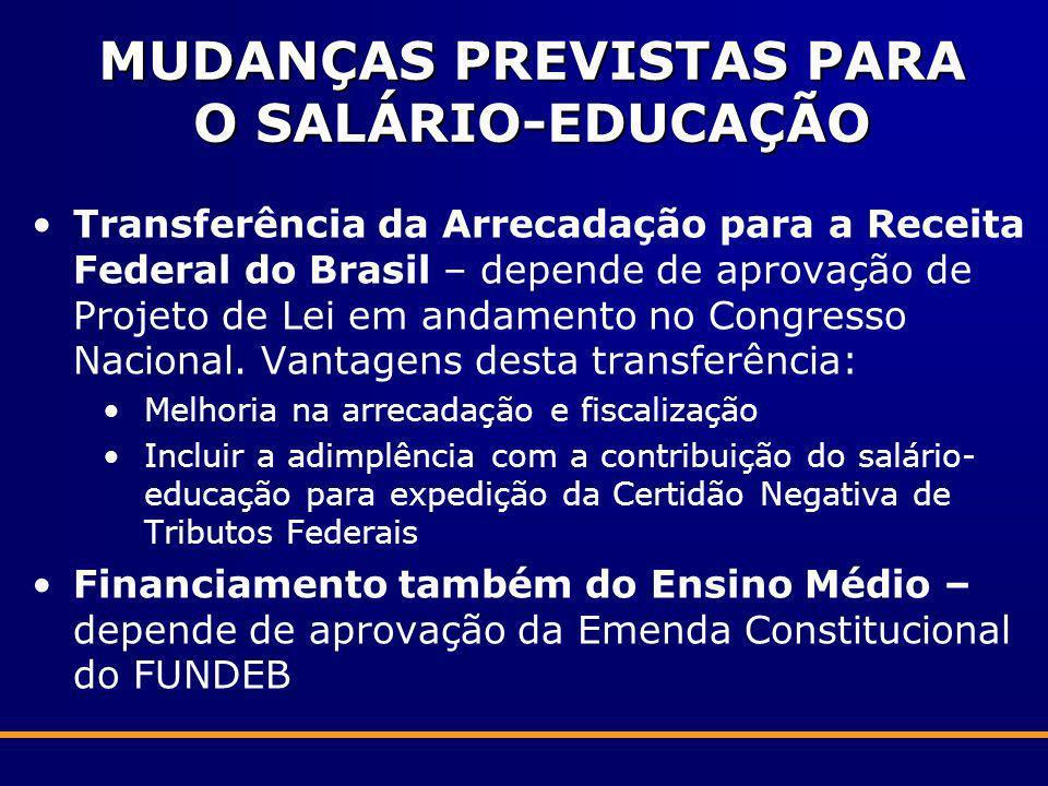 MUDANÇAS PREVISTAS PARA O SALÁRIO-EDUCAÇÃO