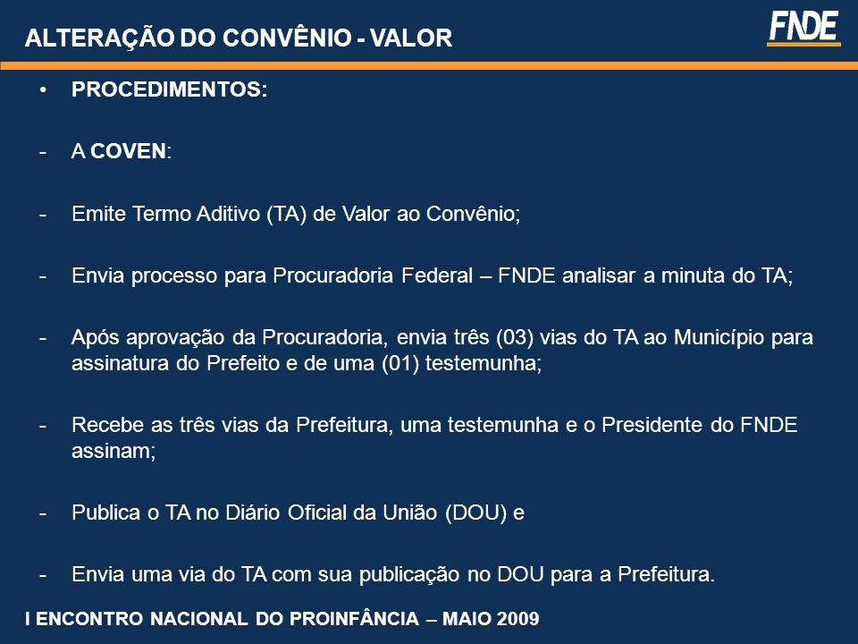 ALTERAÇÃO DO CONVÊNIO - VALOR