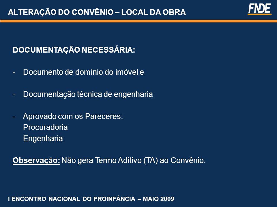 ALTERAÇÃO DO CONVÊNIO – LOCAL DA OBRA