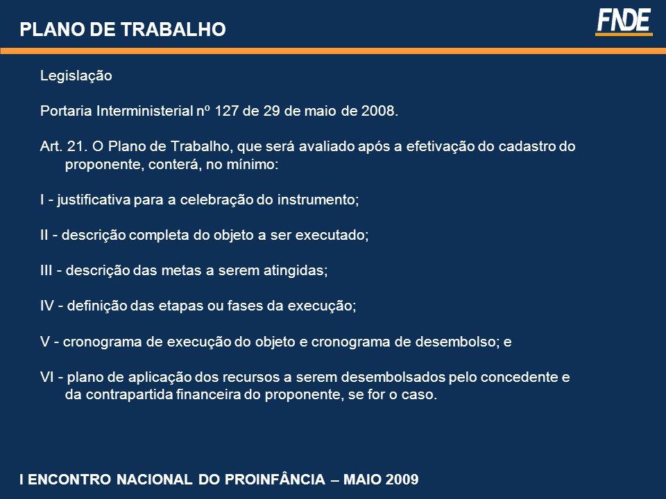 PLANO DE TRABALHO Legislação