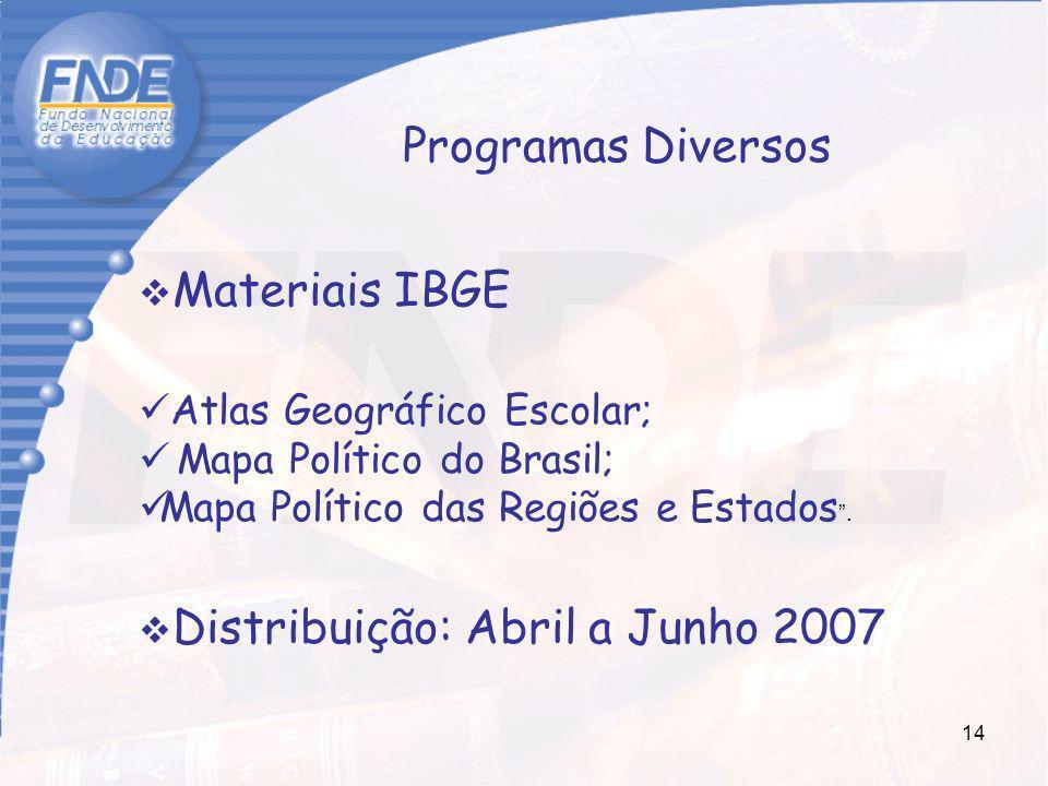Distribuição: Abril a Junho 2007