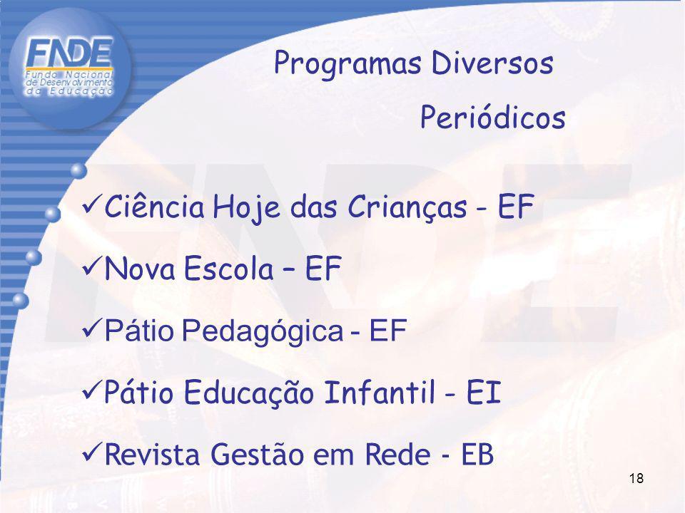 Programas Diversos Periódicos. Ciência Hoje das Crianças - EF. Nova Escola – EF. Pátio Pedagógica - EF.