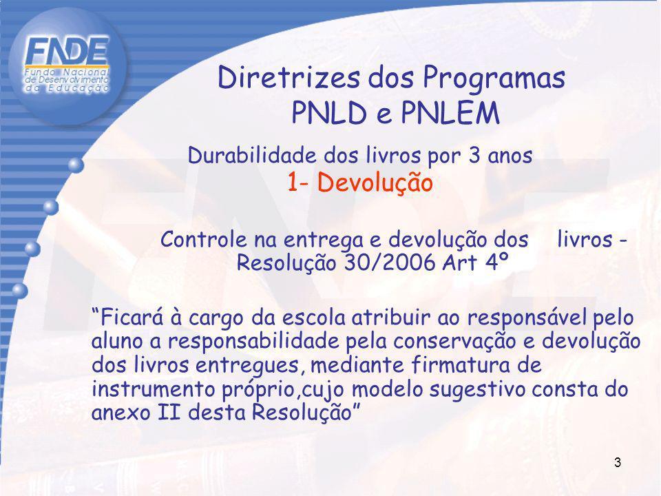 Diretrizes dos Programas PNLD e PNLEM