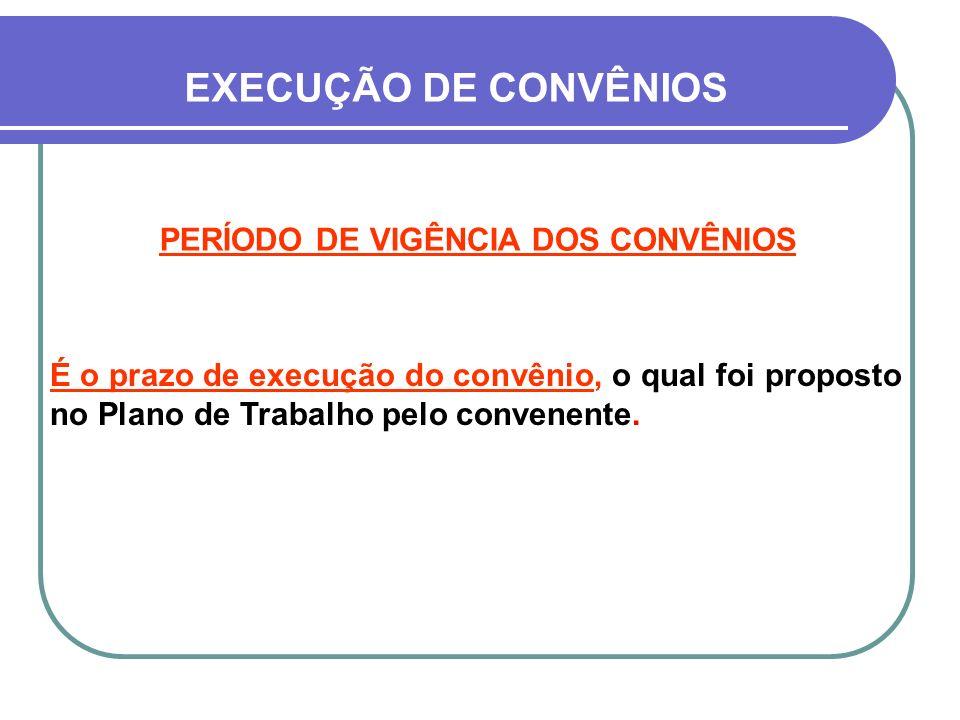 PERÍODO DE VIGÊNCIA DOS CONVÊNIOS