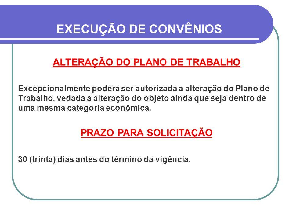 ALTERAÇÃO DO PLANO DE TRABALHO PRAZO PARA SOLICITAÇÃO