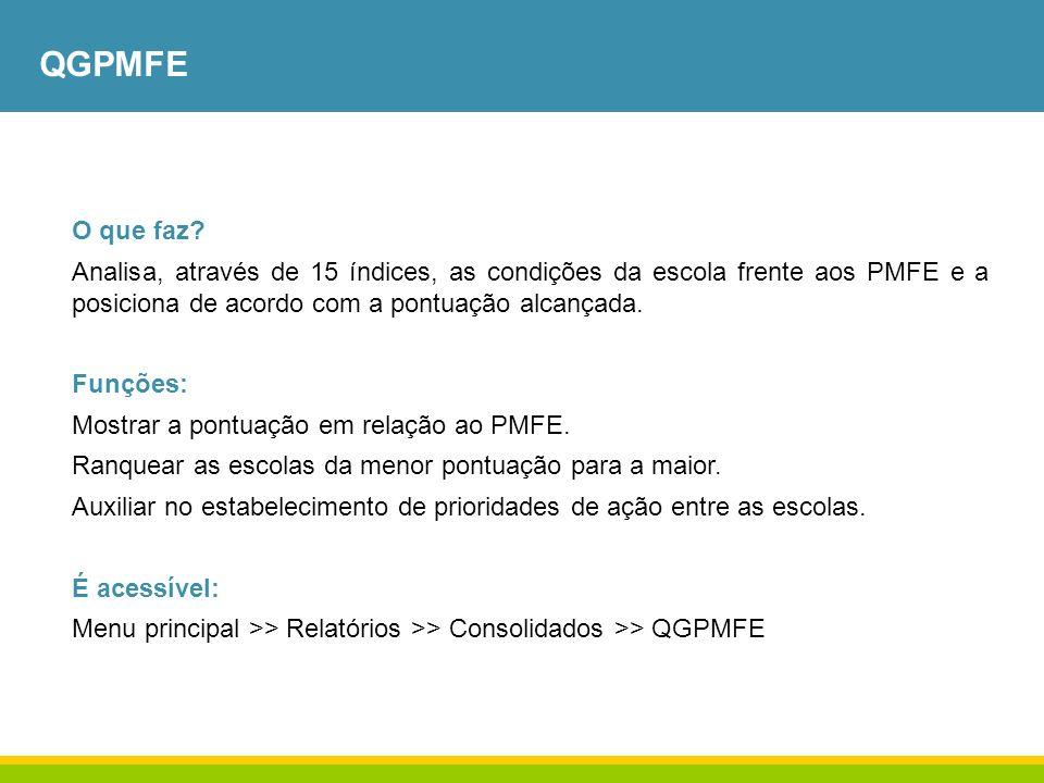 QGPMFE O que faz Analisa, através de 15 índices, as condições da escola frente aos PMFE e a posiciona de acordo com a pontuação alcançada.