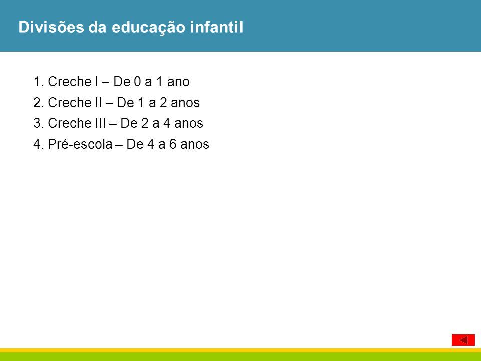 Divisões da educação infantil
