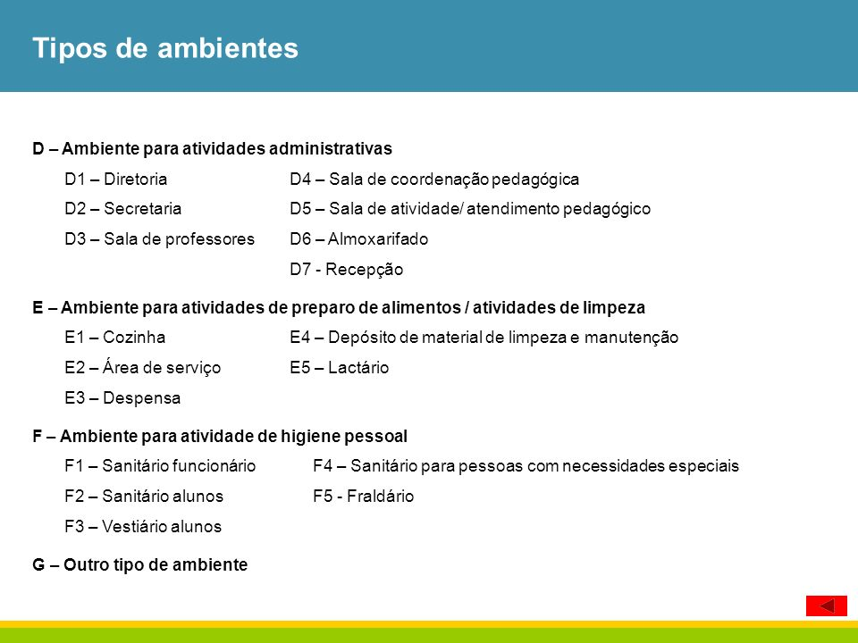 Tipos de ambientes D – Ambiente para atividades administrativas