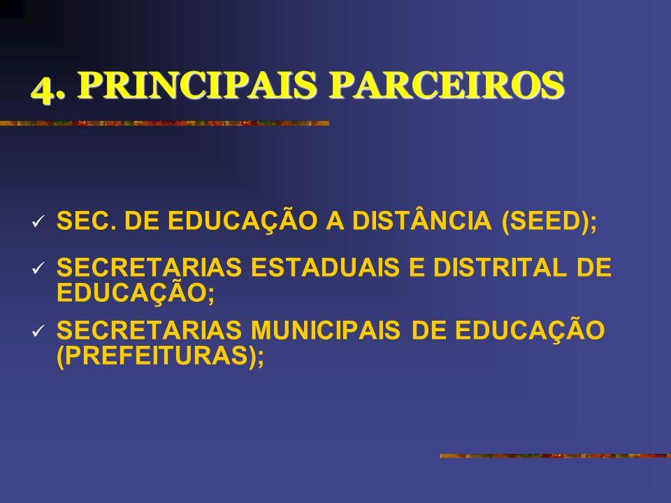 4. PRINCIPAIS PARCEIROS SEC. DE EDUCAÇÃO A DISTÂNCIA (SEED);