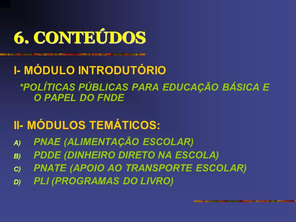 6. CONTEÚDOS I- MÓDULO INTRODUTÓRIO II- MÓDULOS TEMÁTICOS: