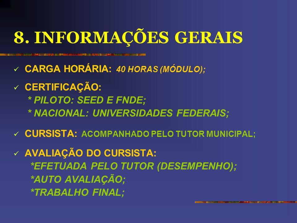 8. INFORMAÇÕES GERAIS CARGA HORÁRIA: 40 HORAS (MÓDULO); CERTIFICAÇÃO: