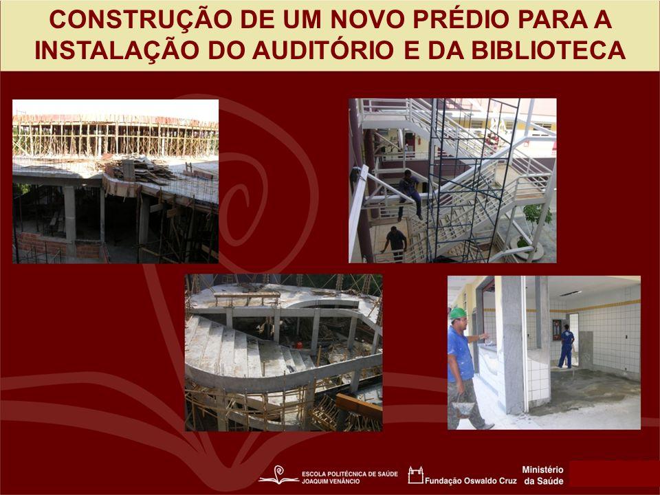 CONSTRUÇÃO DE UM NOVO PRÉDIO PARA A INSTALAÇÃO DO AUDITÓRIO E DA BIBLIOTECA