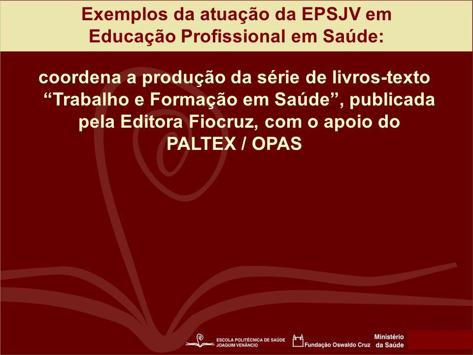 Exemplos da atuação da EPSJV em Educação Profissional em Saúde: