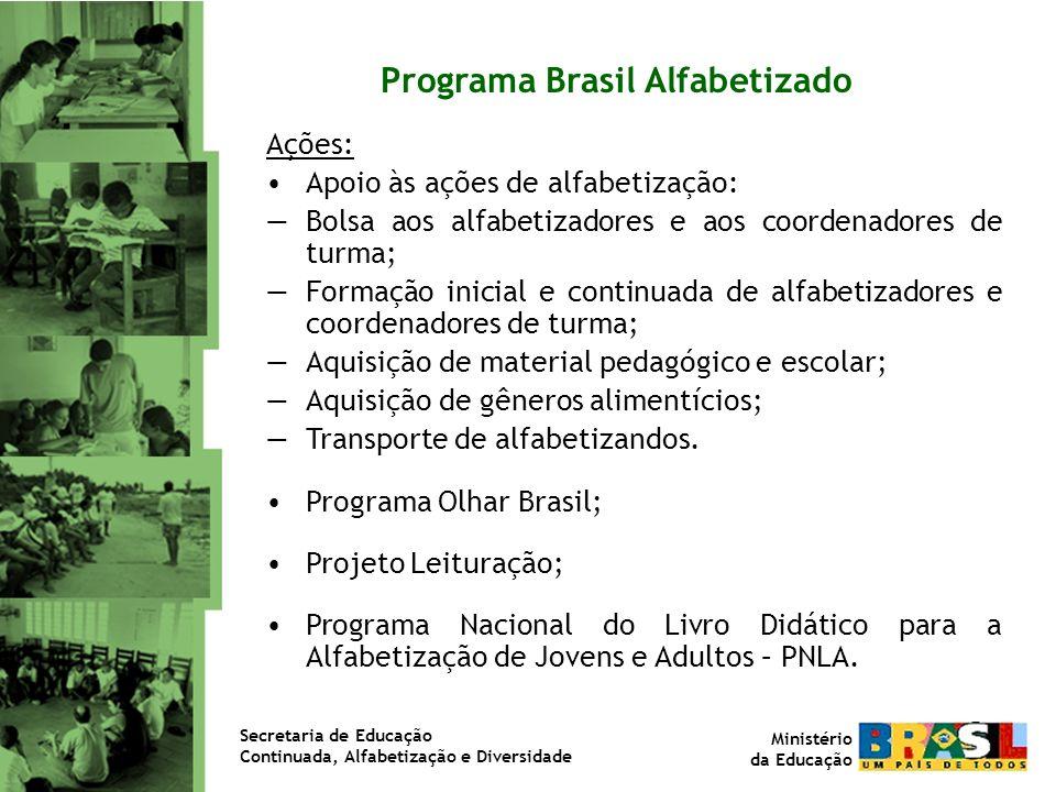 Resultados do Brasil Alfabetizado Programa Brasil Alfabetizado