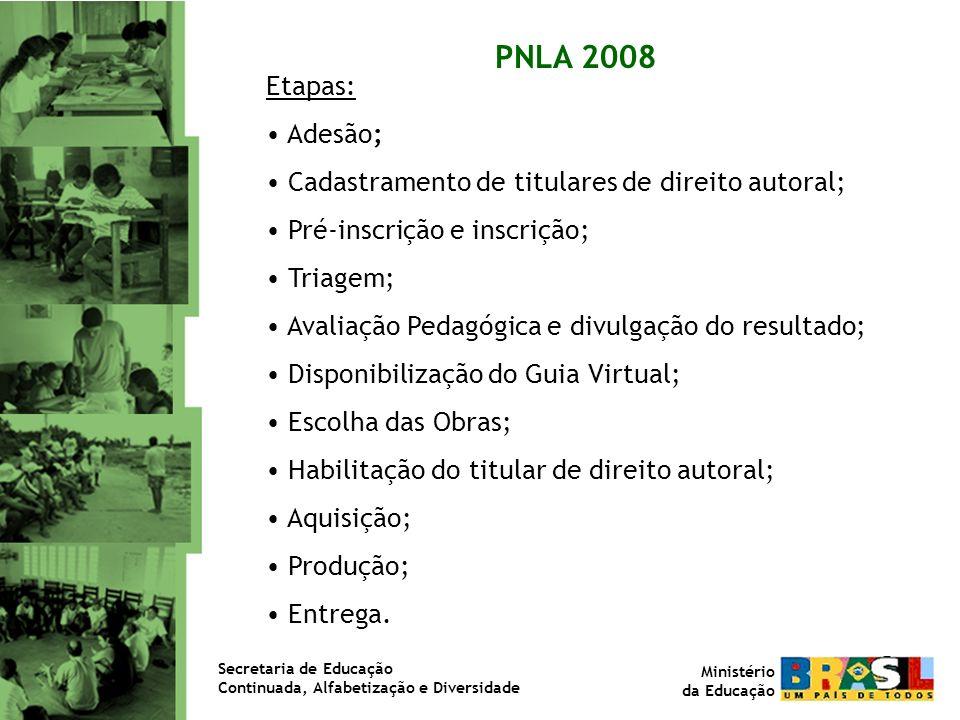 PNLA 2008 Etapas: Adesão; Cadastramento de titulares de direito autoral; Pré-inscrição e inscrição;