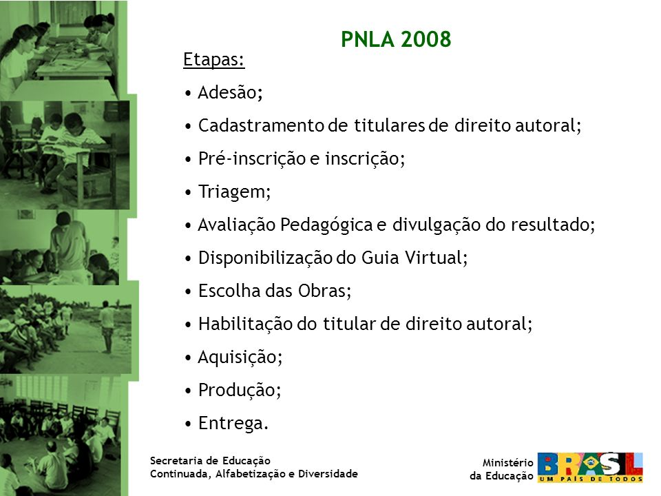 PNLA 2008Etapas: Adesão; Cadastramento de titulares de direito autoral; Pré-inscrição e inscrição; Triagem;
