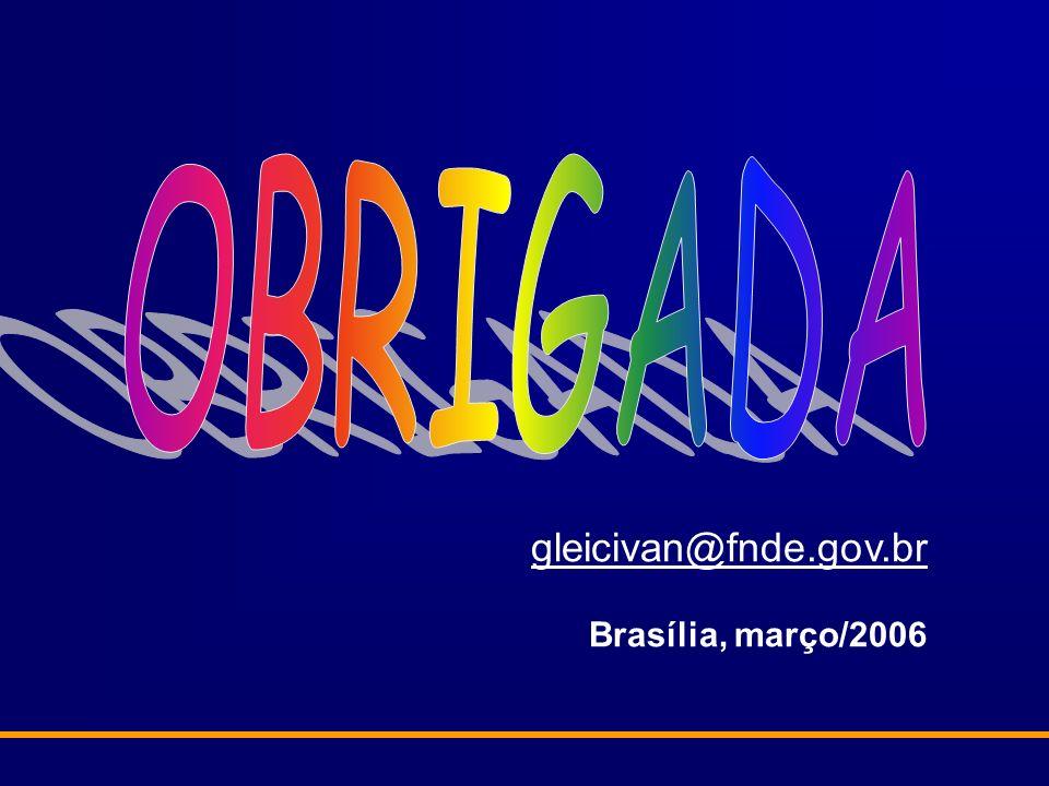 OBRIGADA gleicivan@fnde.gov.br Brasília, março/2006