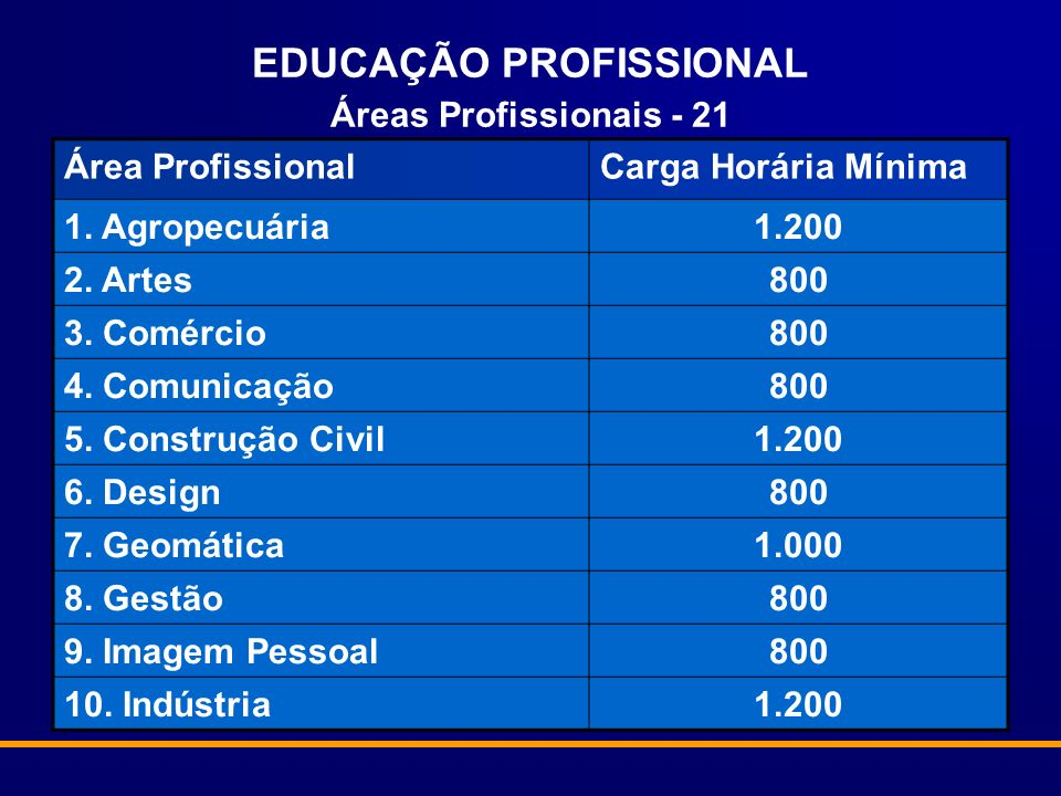 EDUCAÇÃO PROFISSIONAL Áreas Profissionais - 21