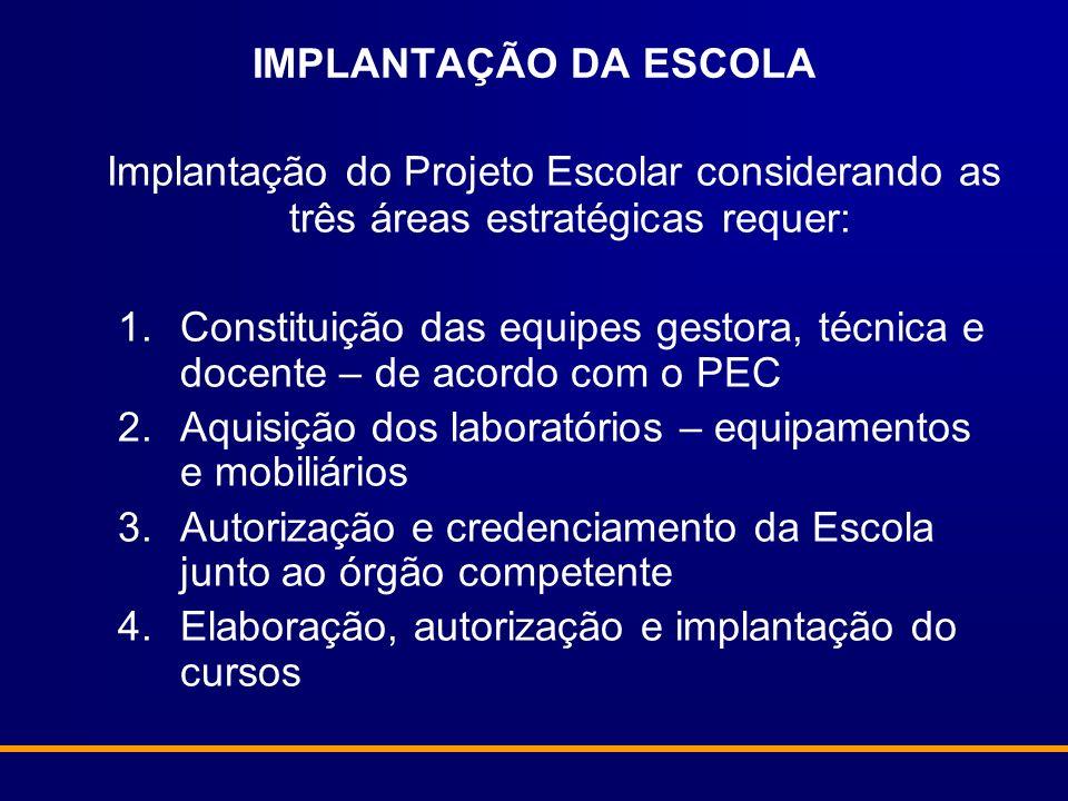 IMPLANTAÇÃO DA ESCOLA Implantação do Projeto Escolar considerando as três áreas estratégicas requer:
