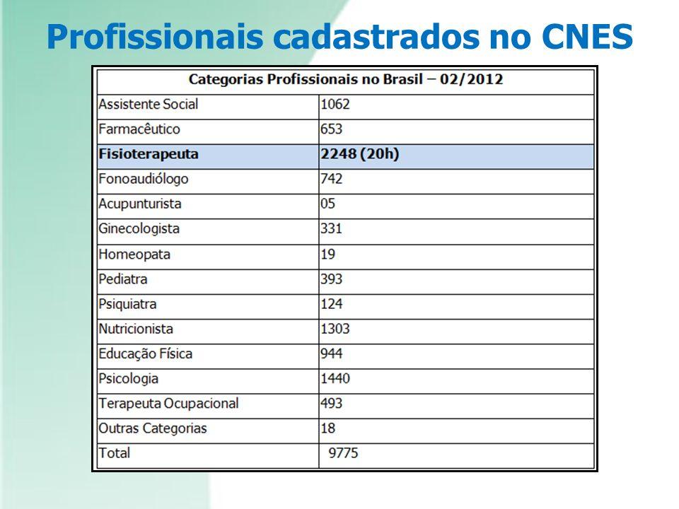 Profissionais cadastrados no CNES