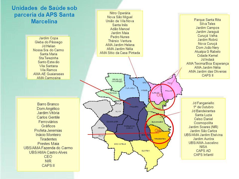 Unidades de Saúde sob parceria da APS Santa Marcelina