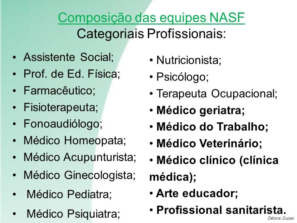 Composição das equipes NASF Categoriais Profissionais: