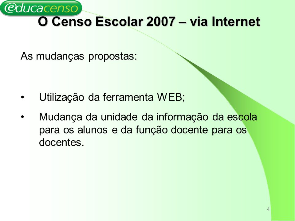 O Censo Escolar 2007 – via Internet