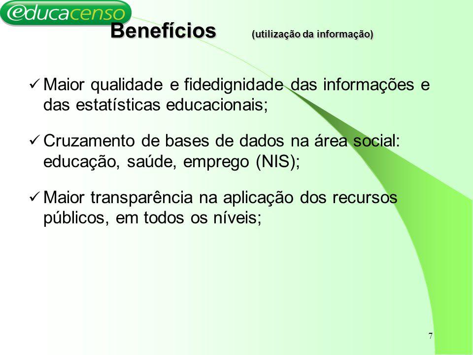 Benefícios (utilização da informação)