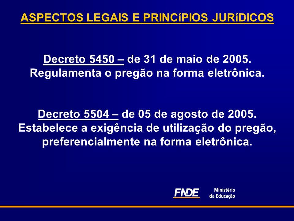 ASPECTOS LEGAIS E PRINCíPIOS JURíDICOS Decreto 5450 – de 31 de maio de 2005.