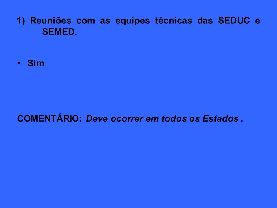 1) Reuniões com as equipes técnicas das SEDUC e SEMED.