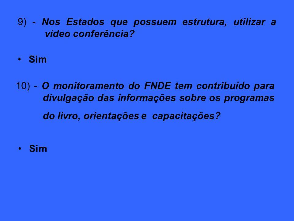 9) - Nos Estados que possuem estrutura, utilizar a vídeo conferência