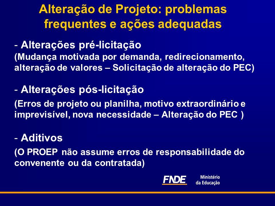 Alteração de Projeto: problemas frequentes e ações adequadas