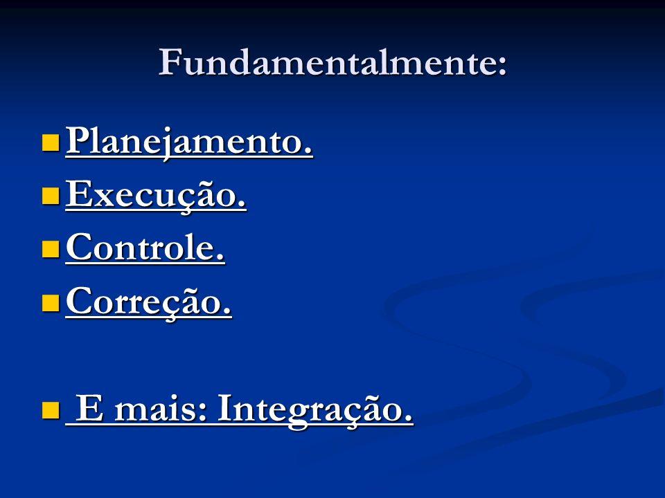 Fundamentalmente: Planejamento. Execução. Controle. Correção. E mais: Integração.