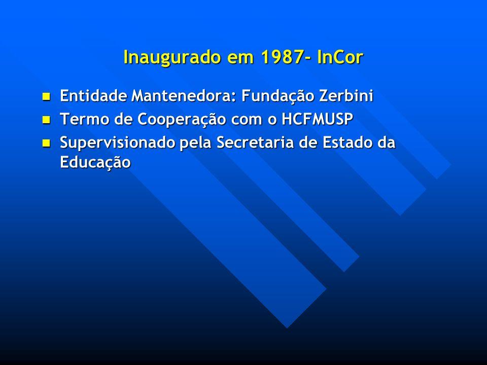 Inaugurado em 1987- InCor Entidade Mantenedora: Fundação Zerbini