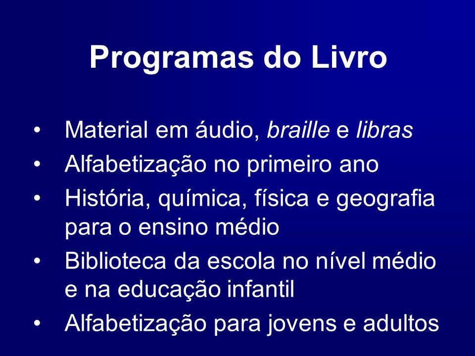 Programas do Livro Material em áudio, braille e libras