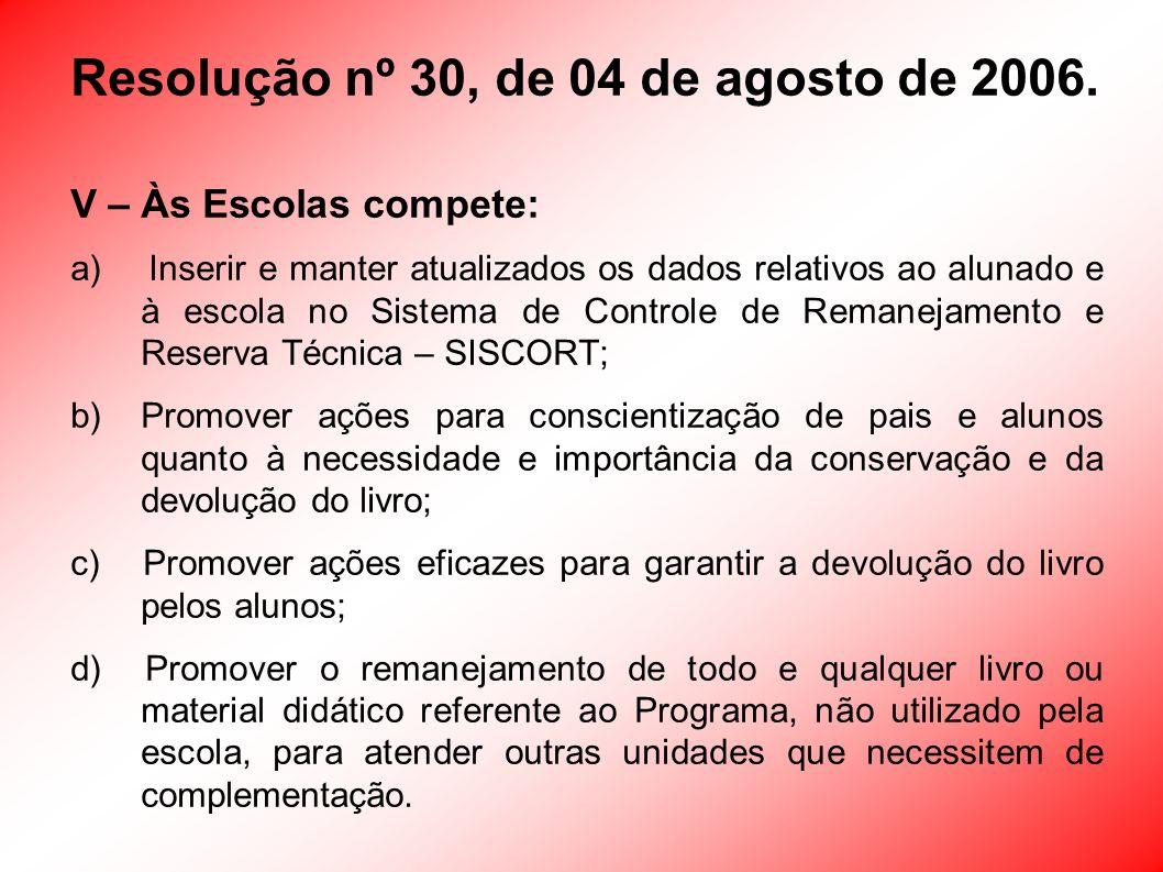 Resolução nº 30, de 04 de agosto de 2006.
