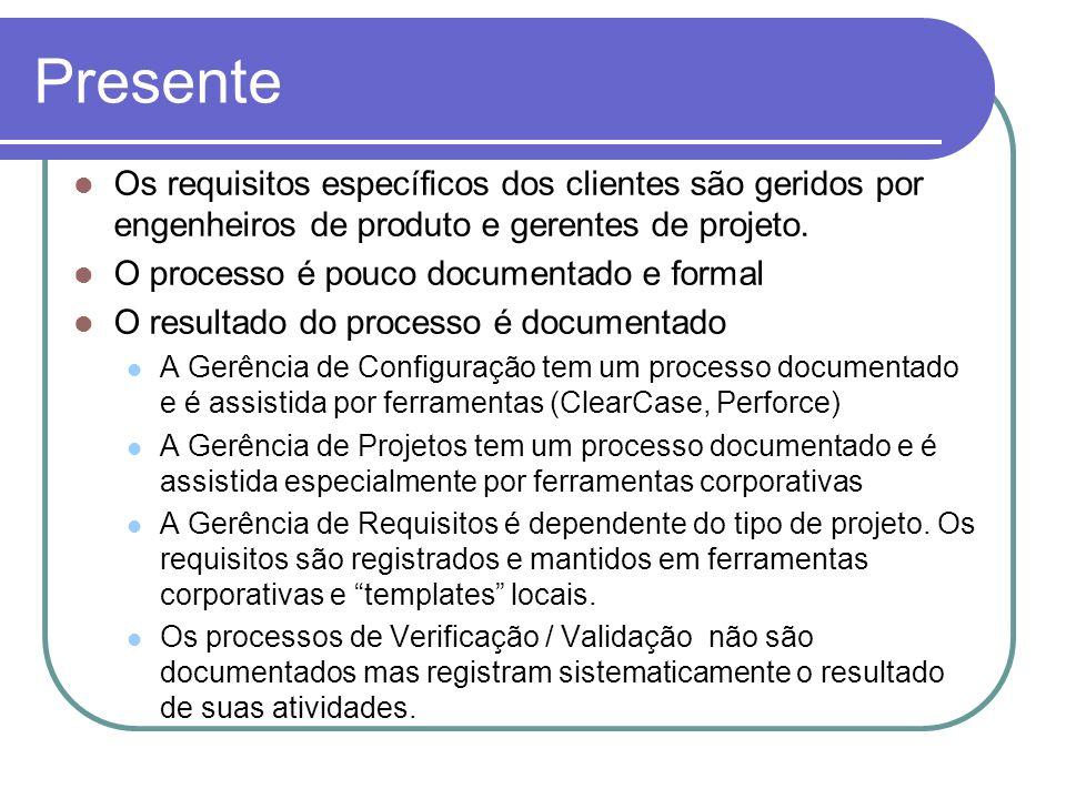 Presente Os requisitos específicos dos clientes são geridos por engenheiros de produto e gerentes de projeto.