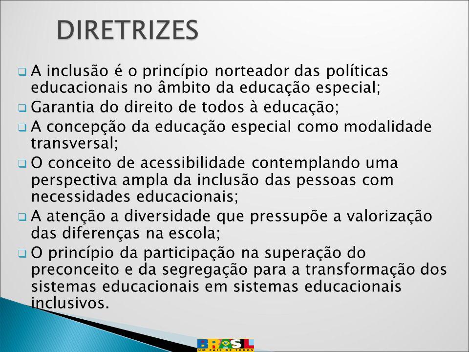 A inclusão é o princípio norteador das políticas educacionais no âmbito da educação especial;