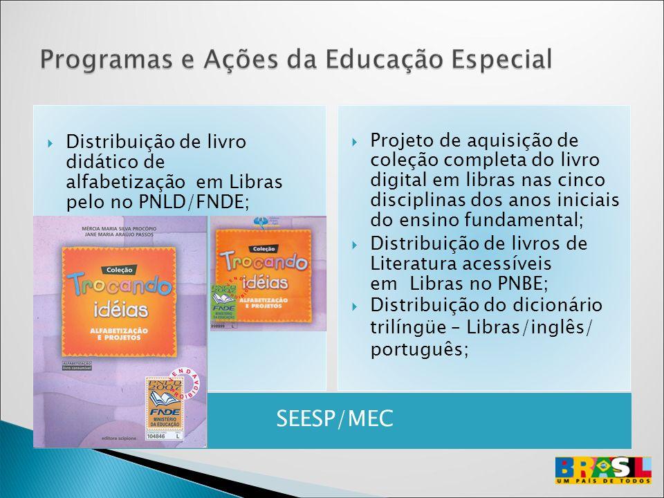 Distribuição de livro didático de alfabetização em Libras pelo no PNLD/FNDE;