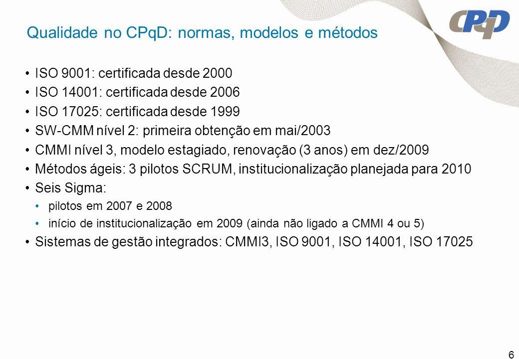 Qualidade no CPqD: normas, modelos e métodos
