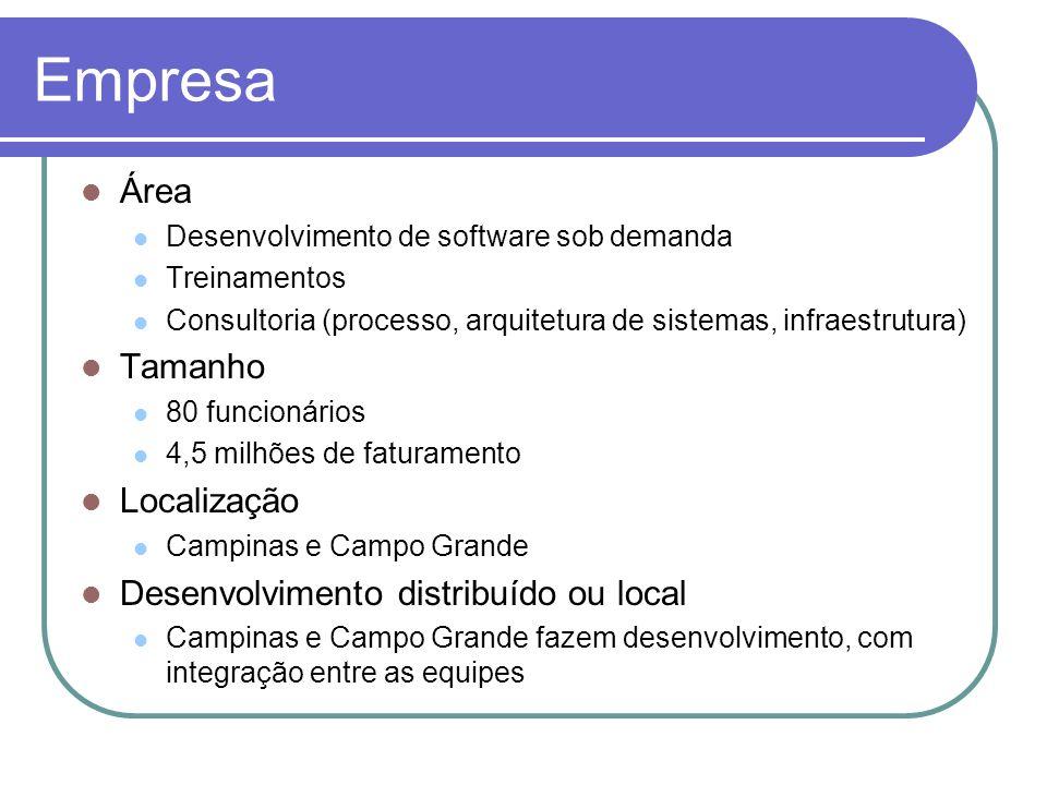 Empresa Área Tamanho Localização Desenvolvimento distribuído ou local