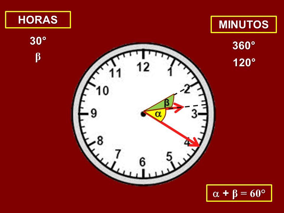 HORAS MINUTOS 30° 360° β 120° β   + β = 60°