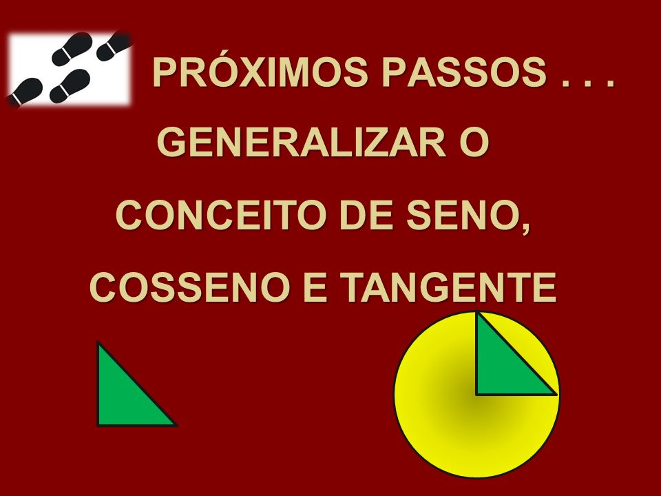 GENERALIZAR O CONCEITO DE SENO, COSSENO E TANGENTE