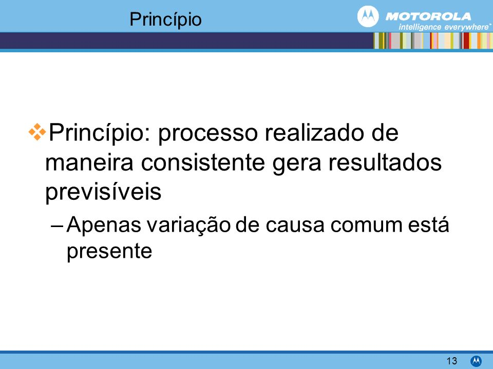 Princípio Princípio: processo realizado de maneira consistente gera resultados previsíveis.