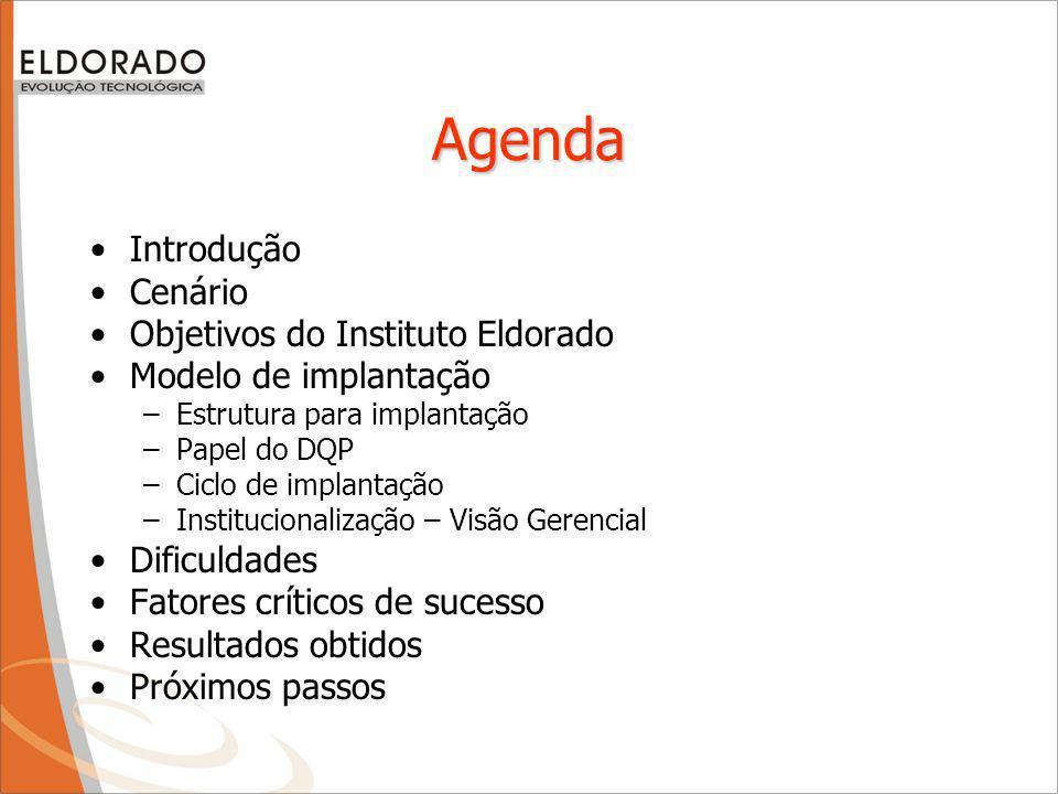 Agenda Introdução Cenário Objetivos do Instituto Eldorado