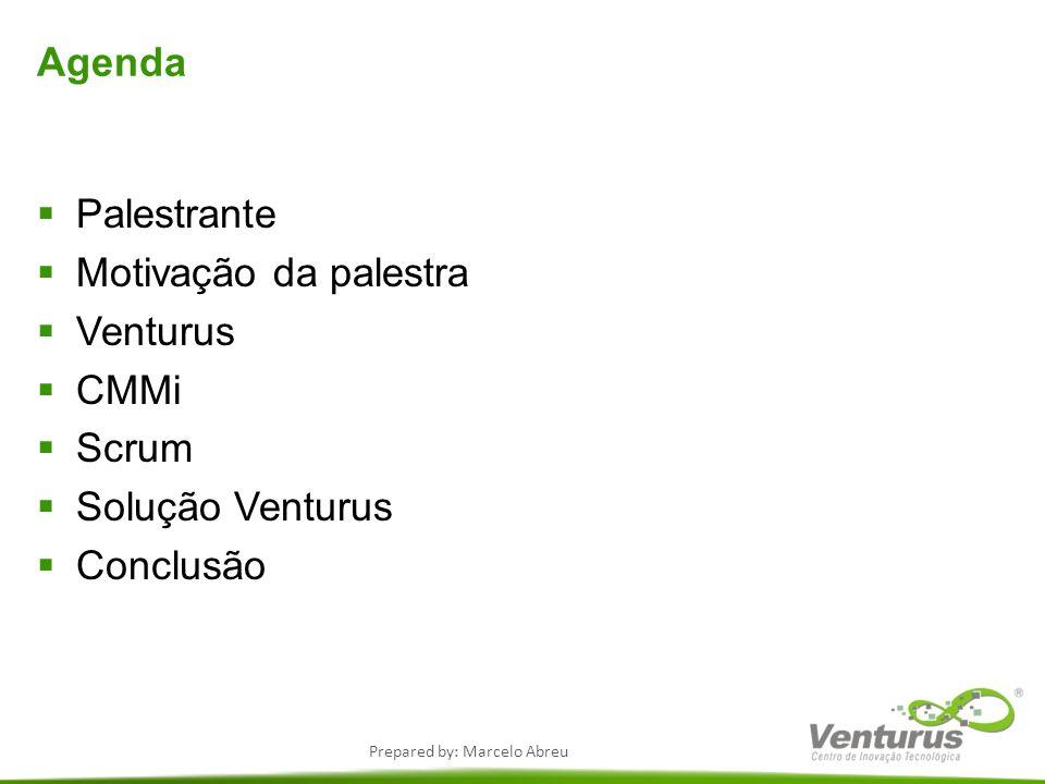 Agenda Palestrante Motivação da palestra Venturus CMMi Scrum Solução Venturus Conclusão